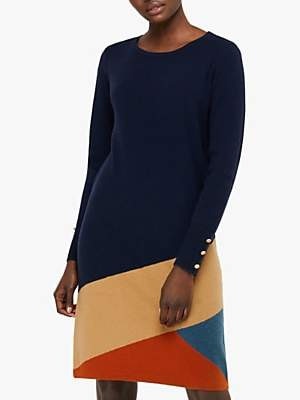 Monsoon Ingar Colour Block Knitted Dress, Navy