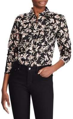 Lauren Ralph Lauren Petite Floral Print Cotton Button-Down Shirt
