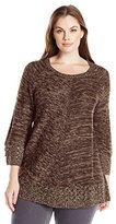 Notations Women's Petite 3/4 Sleeve Crew Neck Shirt Tail Hem Sweater with Pointelle
