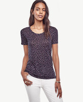 Ann Taylor Dotted Linen Scoop Neck Tee