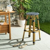 """Bungalow Rose Evie 30"""" Patio Bar Stool Seat Color: Navy/White"""
