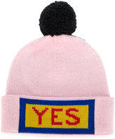 Fendi Yes embroidered beanie hat