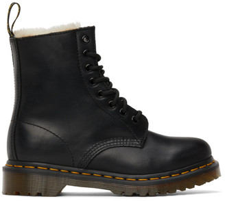 Dr. Martens Black Faux-Fur 1460 Serena Boots