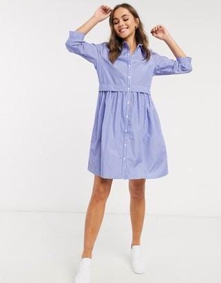 JDY poplin mini shirt dress in blue stripe
