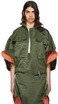 Sacai Green Ruffled MA-1 Bomber Jacket