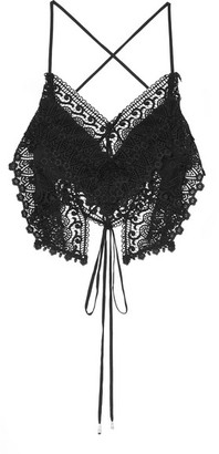 Charo Ruiz Ibiza Blanca Cropped Crocheted Cotton-blend Lace Top - Black