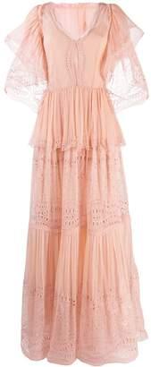 Alberta Ferretti embroidered ruffle maxi dress