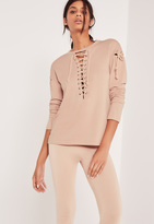 Missguided Extreme Lace Up Sweatshirt Pink