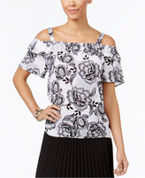 Thalia Sodi Floral-Print Cold-Shoulder Top, Only at Macy's
