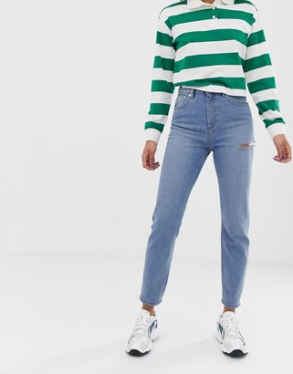 Asos Design DESIGN Recycled Farleigh high waisted slim mom jeans in light vintage wash with slash thigh rip-Blue