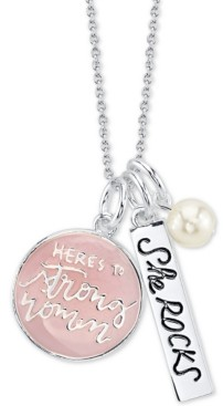 "Unwritten Here's to Strong Women"" Pink Enamel Pendant Necklace in Sterling Silver featuring Pearl Charm, 18"" Chain"