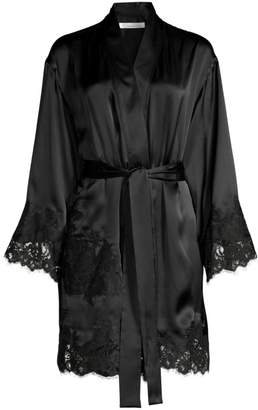 Oscar de la Renta Sleepwear Short Lace-Trim Satin Robe