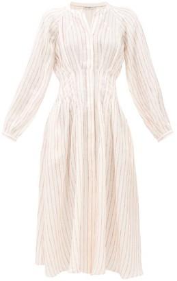 Three Graces London Valeraine Striped Linen Shirt Dress - Cream Stripe