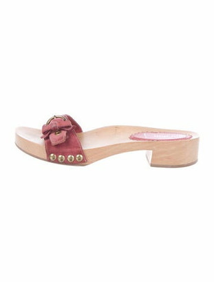 Miu Miu Suede Slides Pink