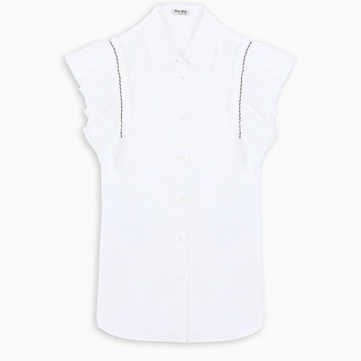 Miu Miu White ruffled sleeve blouse