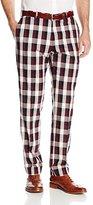 Haggar Men's Vintage Slim Fit Flat Front Wool Check Pant