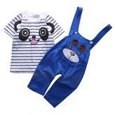 Juicart Baby Boys Girls 2pcs Suit Little Panda Print T-Shirt + Suspender Romper Onesie