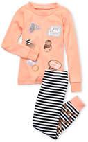 Petit Lem Toddler Girls) Two-Piece Metallic Graphic Top & Striped Leggings PJ Set