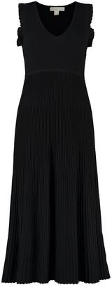 MICHAEL Michael Kors Ribbed Stretch Viscose Ruffle-trim Dress