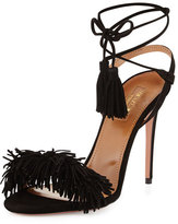 Aquazzura Wild Thing Suede 105mm Sandal, Black