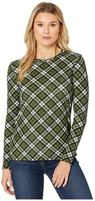 MICHAEL Michael Kors Long Sleeve Bias Plaid Tee (Evergreen) Women's Clothing
