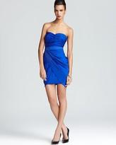 Aqua Strapless Dress - Ruched