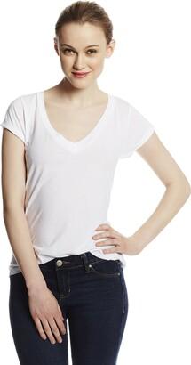 LAmade Women's Short Sleeve Low V-Neck Boyfriend Top