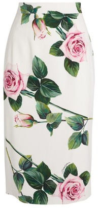 Dolce & Gabbana Tropical Rose-Print Skirt