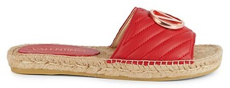 Valentino By Mario Valentino Clavel Quilted Leather Espadrille Slides