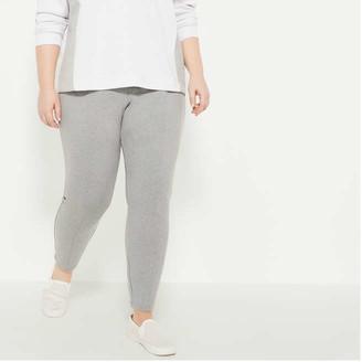 Joe Fresh Women+ Mix Knit Ponte Leggings, Light Grey (Size 3X)
