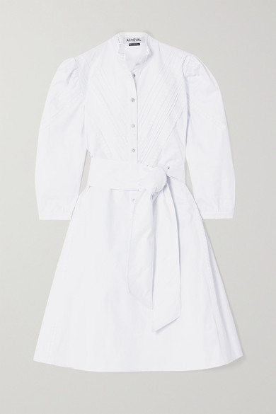ÀCHEVAL PAMPA Yegua Belted Crocheted Lace-trimmed Cotton-blend Poplin Dress - White