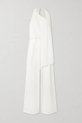 Halston Scarf-detail Draped Crepe Jumpsuit - Cream