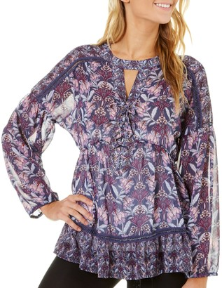 Taylor & Sage Women's Printed Lace Up Peasant Top