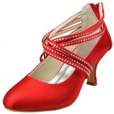 Minitoo GYAYL170R Womens Med Heel Closed Toe Satin Evening Party Bridal Wedding Crystals Strappy Shoes
