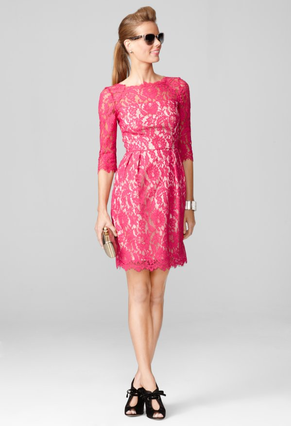 Milly Lace Dresses - Stella Dress Crafted in Floral Scallop Lace