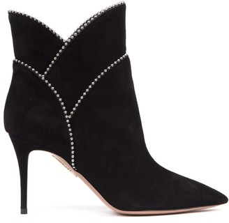 Aquazzura Black Suede Ankle Boots With Studs