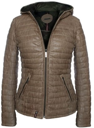 Oakwood Happy Beige Leather Hooded Jacket