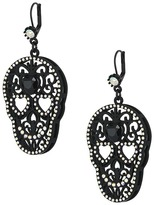 Betsey Johnson Black Rubber Skull Drop Earrings