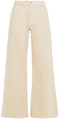 7 For All Mankind Lotta Cotton And Linen-blend Twill Wide-leg Pants