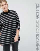 Junarose Striped Ribbed Roll Neck Top