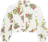 Emilia Wickstead Tamara Cropped Floral-print Stretch-crepe Top - Ivory