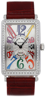 Franck Muller White Diamonds Stainless Steel Long Island 1002 QZ COL D1 AC Women's Wriswatch 43x30.5 MM