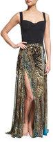 Camilla Printed Beaded High-Slit Coverup Skirt