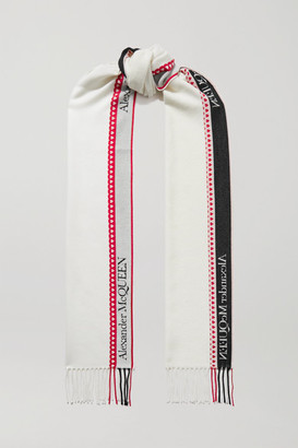 Alexander McQueen Fringed Wool And Cashmere-blend Jacquard Scarf - Ivory