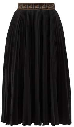 Fendi Ff-jacquard Pleated Cotton-blend Jersey Midi Skirt - Womens - Black