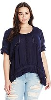 Angie Women's Plus-Size Navy High/Low Ruffle Top