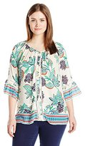 Democracy Women's Plus Size Woven Leaf Print with Bead Detail with Border Print Hem