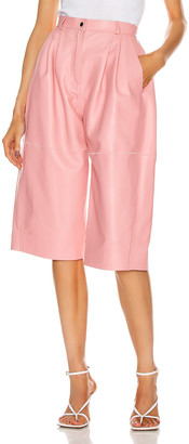 CARMEN MARCH Leather Trouser Short in Light Pink | FWRD