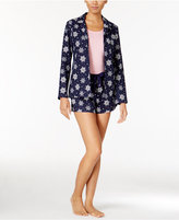 Nautica 3-Piece Button Front Shirt, Tank Top and Shorts Pajama Set