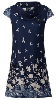 Dorothy Perkins Womens Izabel London Navy Floral Print Knit Shift Dress, Navy